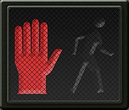 A pedestrian signal with a red hand