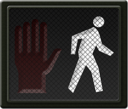 A pedestrian signal with a person walking
