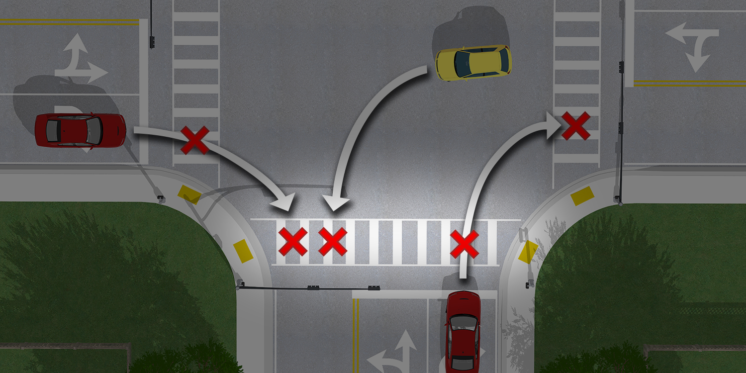 A birds eye view of the three locations that drivers turning right on red, or left on green, may violate a pedestrian's right of way during a WALK signal