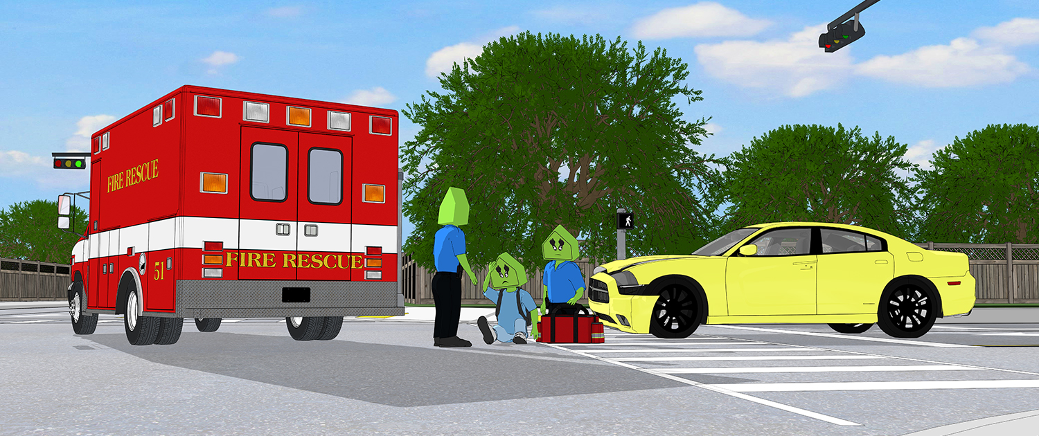 Two paramedics look over a child sitting down in the middle of an intersection. A car with a damaged bumper is nearby.