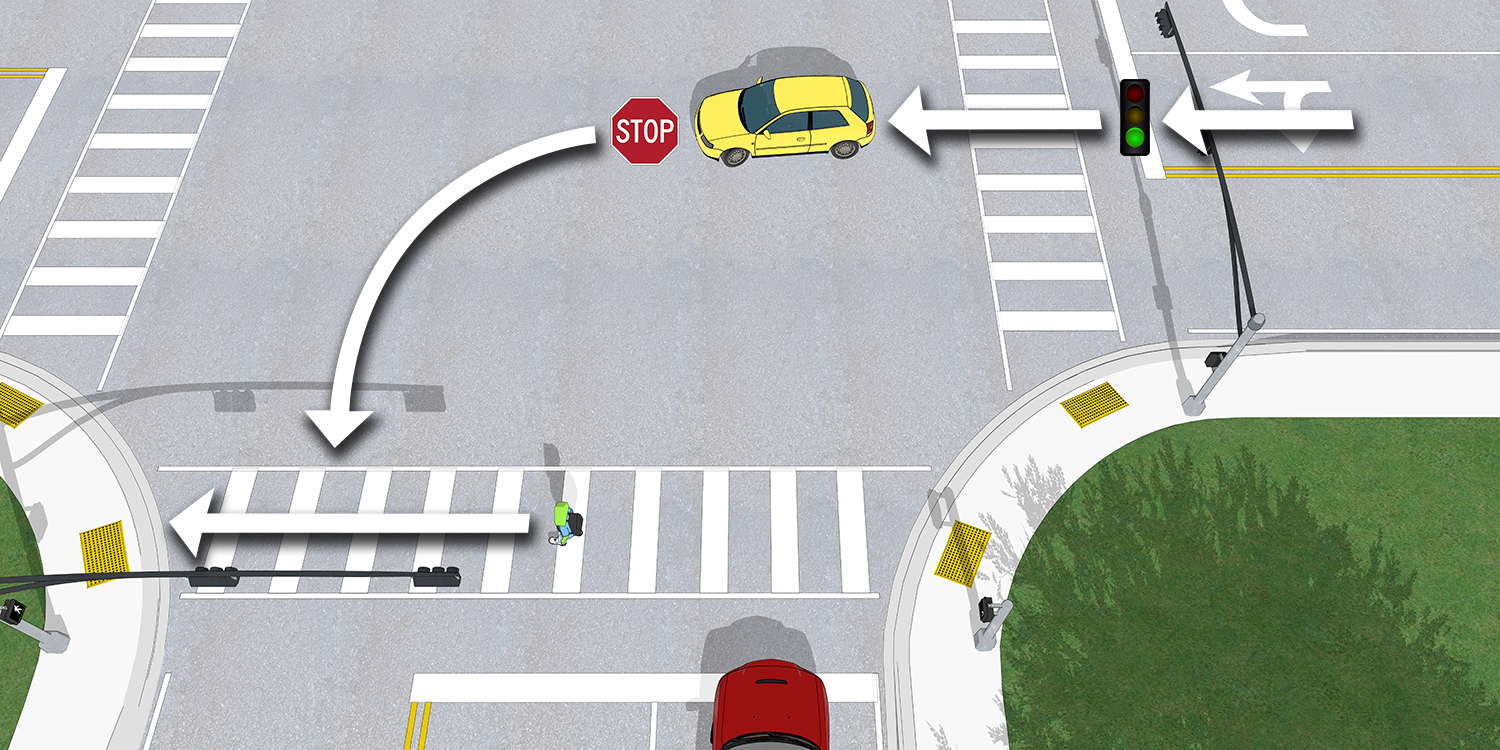 A scene showing how a driver making a left turn from a perpendicular street may cross the crosswalk on a WALK signal.