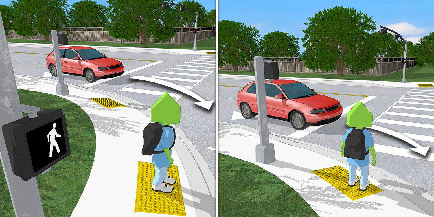 A scene showing how a pedestrian waiting to cross always has a car turning right on red to their left