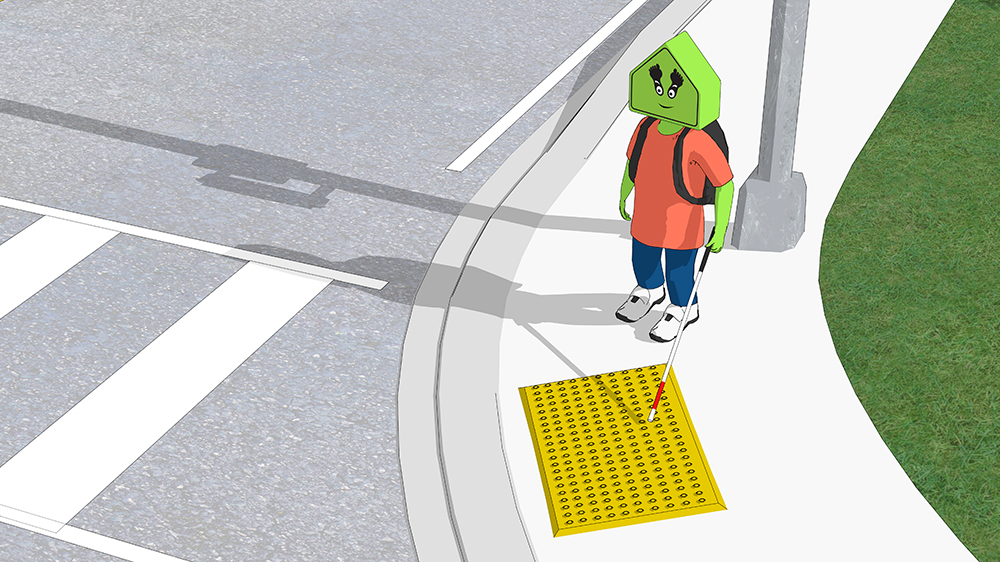 A child locating the tactile pavers with a white cane