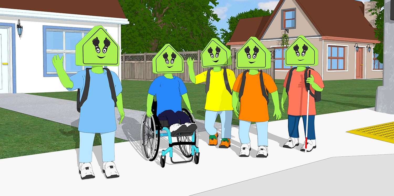 A group of friends in their neighborhood, waving