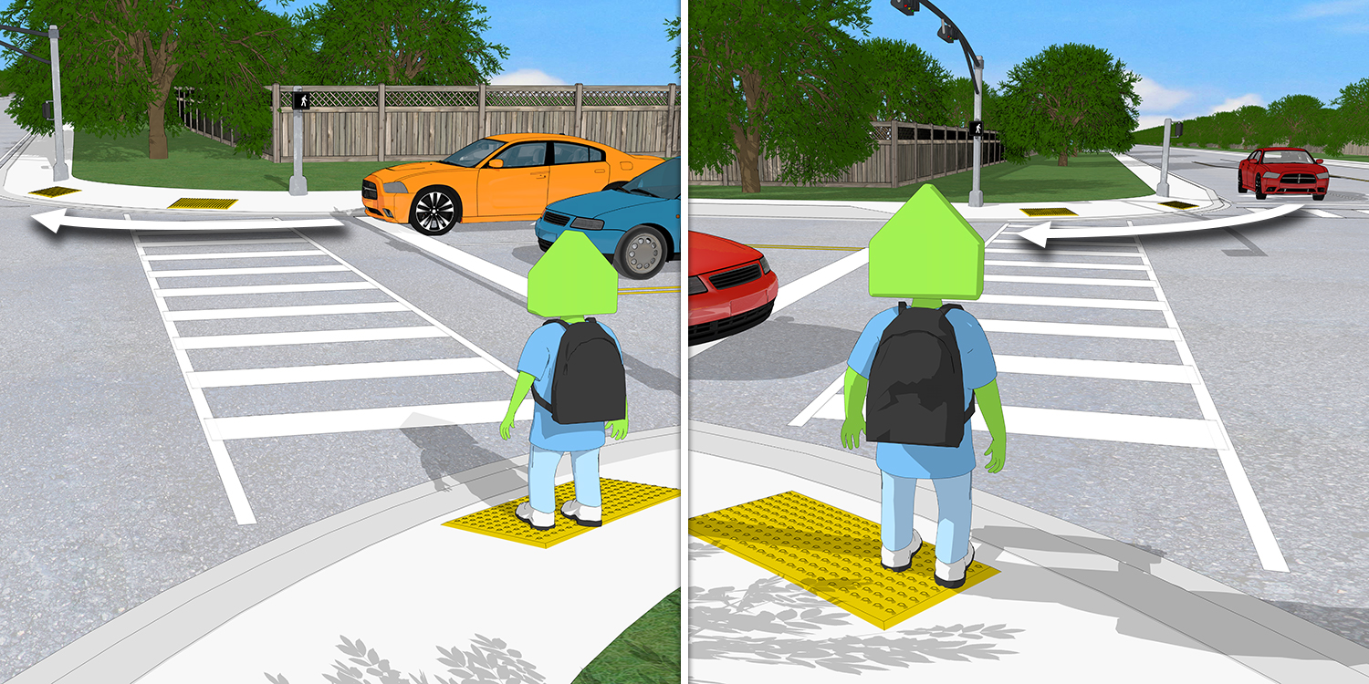 A scene showing how a pedestrian waiting to cross always has a car turning right on red to their right as well