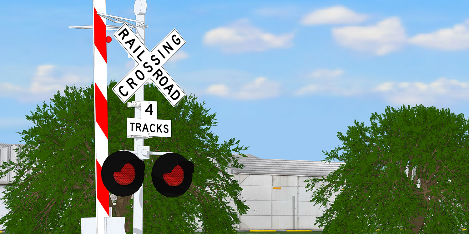 A railroad crossing with an additional sign denoting four tracks
