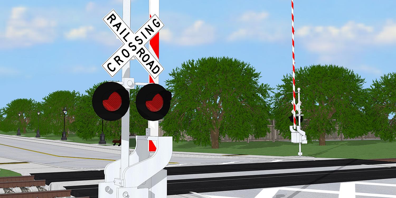 A railroad crossing symbol and gate