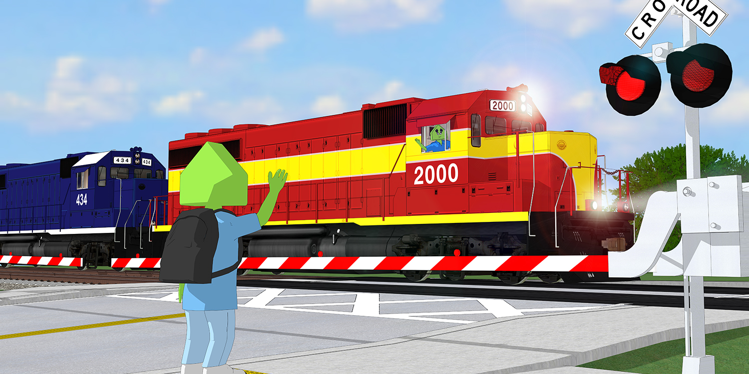 A child waves to the engineer of a passing train