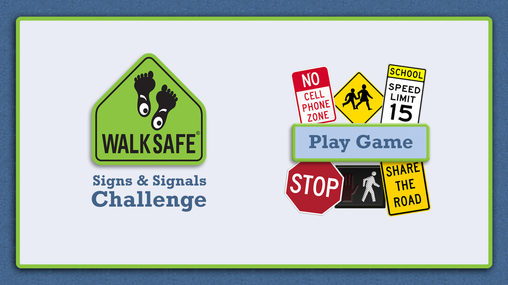 A picture of the loading screen of the Signs and Signals Challenge